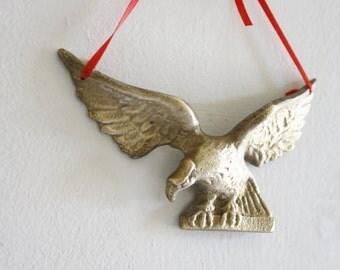 Vintage Small Brass Eagle on Ribbon Hanger