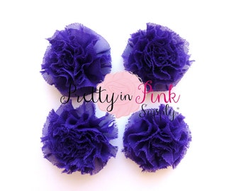 Purple Mini Shabby Puffs...You Choose Quantity...Shabby Flowers...Mini Shabby Rosettes...DIY Headband supplies