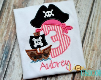 Girl Pirate Birthday Shirt Number can be changed - Girly - Pink