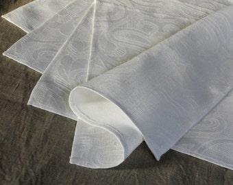 White linen dinner napkins set of 4 cloth napkins jacquard patterned natural linen