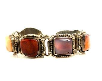 Vintage Natural Agate Gemstone Link Bracelet Silver Findings
