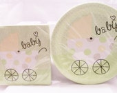 Soft green baby shower paper plates and napkin set - baby shower supplies/decorations - baby boy/baby girl party set - unisex party supplies