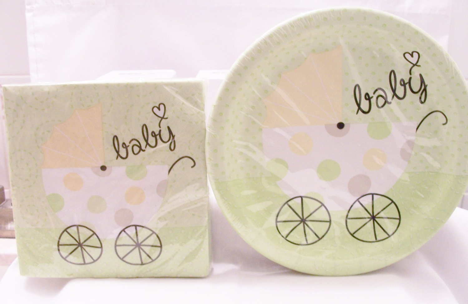 soft green baby shower paper plates and cup set baby shower