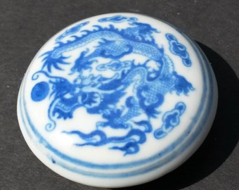 Vintage Chinese Handpaint Porcelain QuinLong Dragon Seal Chop  Red Ink Paste Box,Calligraphy