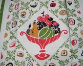 Vintage Unused Linen Tea Towel Kitchen Towel CRISP Mid Century FAB