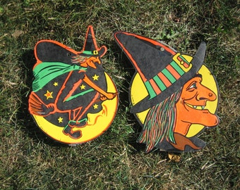 Vintage Halloween Decorations AWESOME Beistle Set of 2 Witches