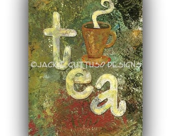 "Tea art, Archival print, 5 x 7"", Tea cup art, Tea typography collage, Print of acrylic painting, Tea lover gift, Kitchen, Dining room art"