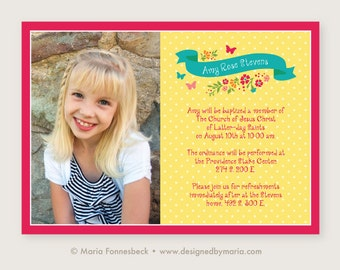 LDS Baptism Invitation Girl Announcement: Bright and Cheery Floral Banner Design