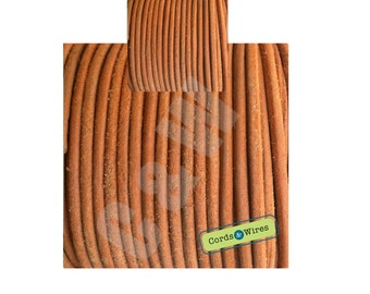 Cinnamon vintage effect leather cord 2 metersx3mm
