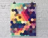 Geometric Art Print  - Honeycomb Hexagon Pattern - Colorful Modern Home Decor - Geometry Poster - Colorful Geometric Decor - SKU: 152-B