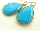 Turquoise Blue Large Oversized Dangle Drop Teardrop Earring. Something Blue, Bridesmaid Jewelry.