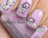 Nail Wraps Nail Art Nail Decals Water Tranfers Glitter Disney Aristocats Y608 Salon Quality