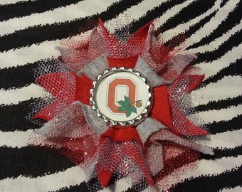 Sporty Bottlecap College Ohio State Buckeyes Hair Bow on Lined Alligator Clip