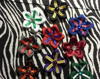 Fabric Flowers Team Colors  Rhinestone 3 inch Hair Bow on Lined Alligator Clip