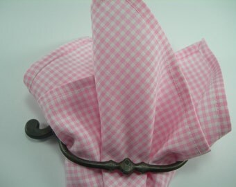 Ginham pocket square Pink and white