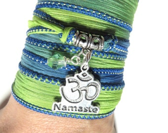 Silk Wrap Bracelet Namaste Om Yoga Jewelry Bohemian Meditation Zen Yoga Green Blue Wrist Band Gift Om Necklace Christmas Stocking Stuffer