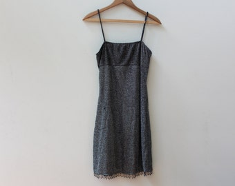 Sparkly Silver 90s Beaded Dress