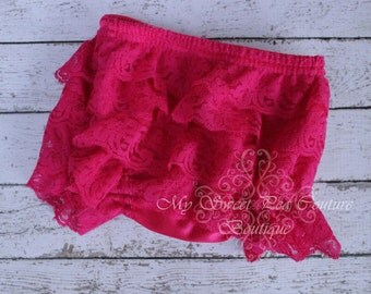 Hot Pink Lace Ruffle Bloomers- Diaper Cover - Baby Girl Outfit- Newborn Outfit - Cake Smash Outfit- Photo Prop