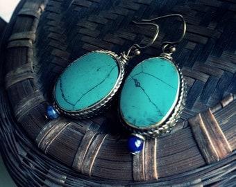 Turquoise Earrings,Tibetan Turquoise Earrings,Tibetan Earrings,Tibetan Jewelry,Turquoise Jewelry,Nepal Earrings,Ethnic Earrings, Turquoise