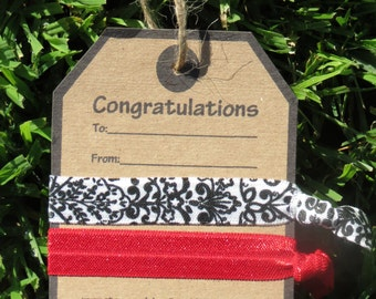 2 Hair Tie Congratulations Present Card Gift Tag Party Favor Cherry Red Black White Damask