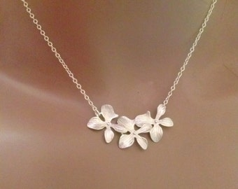 trio orchid flower necklace,wedding-bridal-bridesmaid-bridal shower jewelery,flower necklace,orchid necklace,orchid jewelry,gift