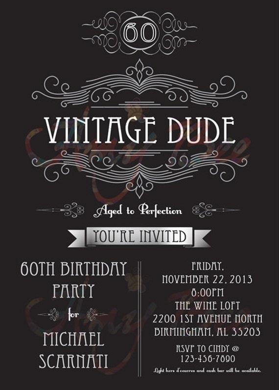 Vintage Dude Invitation man birthday by AmyBeeCreations on ...