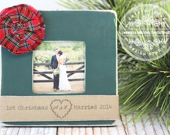 Newlywed Wedding First Christmas Married Personalized Picture Frame Christmas Holiday Gift