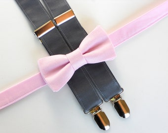 Pink bow tie and suspenders set, boys bow tie and suspenders, ring bearer outfit, boys photo prop, toddler bow tie and suspenders