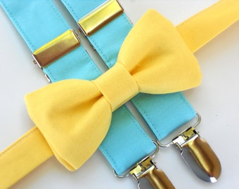 Ring bearer outfit, blue suspenders, boys bow tie and suspenders, yellow bow tie, toddler wedding outfit, boys 1st birthday outfit