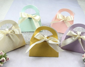 "50 Pastel 3.25""x 2.25"" Gift Bag Favor Box with Bow. Wedding, Bridal Shower, Baby Shower, Party Favor Gift."