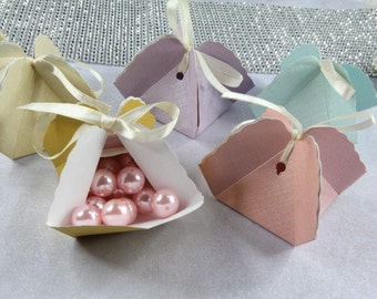 """50 Triangle Pastel 2"""" Favor Box Wedding, Bridal Shower, Baby Shower, Party Favor Gift."""