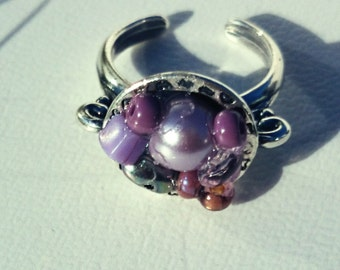 One of a kind purple mosiac ring