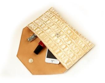 Gold Crocodile Print envelope clutch bag