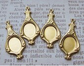 Raw Brass Cabochon Settings - Brass Charms - Brass Drops - 26mm x 13mm