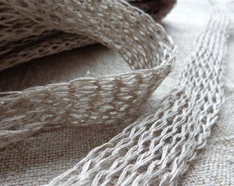 5/10 meters Linen Tape Lace Tube 20 mm Natural Knitted Linen Tape
