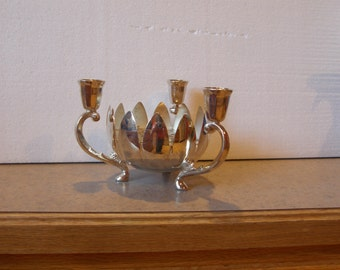 silver plated candle holder combo flower vase!