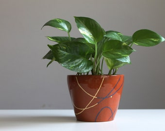 Ceramic planter Garden decor Mishima technique Blue Yellow over brown clay - ready to ship