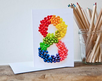 Eight Years old Jellybeans Happy Birthday Card