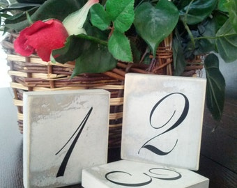 Wedding Table Numbers - Rustic - Shabby Chic - Cottage - Wood - Country Weddings - Receptions - White and Black