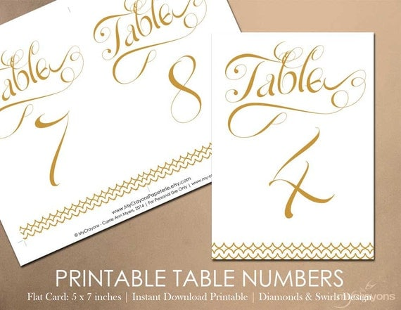 Items similar to Instant Download Printable Table Numbers ...