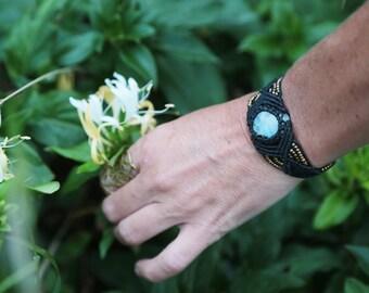 Macrame Hippie Boho Bracelet Brass Beads Unique Moonstone Gemstone Wrist Band Tribal Jewelry Ethnic Bracelet Organic Jewelry  Handmade