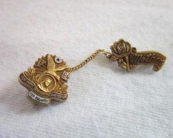 Vintage Gold Filled Fraternal Order of Eagles Enameled Pinback for Mother
