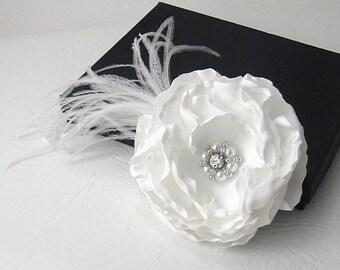 Ivory Bridal Flower, Flower Fasinator, Ivory Feather Fasinator, Fabric Flower Corsage, Wedding Flower,