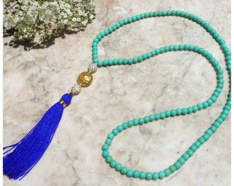 Long Turquoise Beaded Necklace - Royal Blue Tassel - Long Tassel Necklace - Boho - Claribella