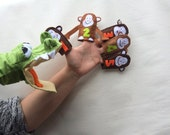 5 Little monkeys teasing Mr CROCODILE  Sewing Pattern PDF -  Felt Hand puppet and 5 finger puppets ,action song DIY puppet Jungle animal