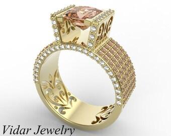Morganite Engagement Ring,Unique Engagement Ring,Princess Cut Engagement Ring,Yellow Gold Engagement Ring,Diamond Engagement Ring,Wide Band