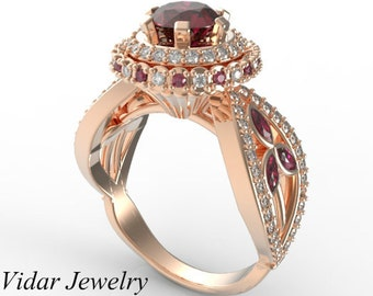 Unique Engagement Ring,Ruby Engagement Ring,Flower Engagement Ring,2.25 Carat Diamond Ring,Vintage Engagement Ring,Rose Gold Engagement Ring