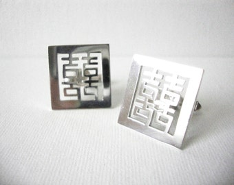 Vintage Japanese 950 Sterling Silver Square Cufflinks In Characters