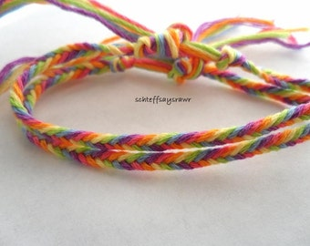 Set of two rainbow fishtail braid friendship bracelets