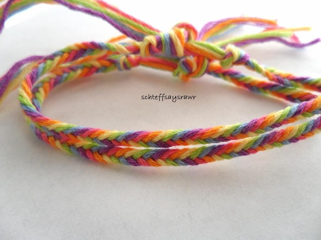 Set of two rainbow fishtail braid friendship bracelets